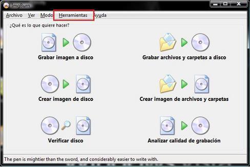 imgburn xbox360 herramientas